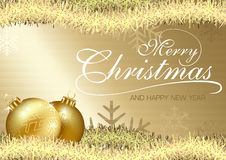 Golden Merry Christmas Greeting Royalty Free Stock Photography