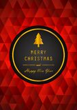 Golden Merry Christmas and Happy New Year with Black Badge Royalty Free Stock Photo