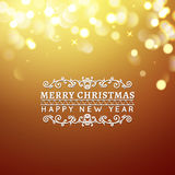 Golden Merry Christmas and Happy New Year card. Christmas typographic message. Vector bokeh background, festive Royalty Free Stock Image