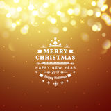 Golden Merry Christmas and Happy New Year card. Christmas typographic message. Vector bokeh background, festive. Defocused lights Royalty Free Stock Photos