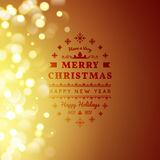 Golden Merry Christmas and Happy New Year card.. Christmas typographic message. Vector bokeh background, festive defocused lights Stock Images