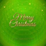 Golden Merry Christmas headline on green backgroun Royalty Free Stock Photography