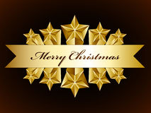 Golden merry christmas stars label Stock Photography