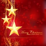 Golden Merry Christmas stars on red background. Merry Christmas background with stars, snow flakes and wavy pattern and light dots for your festive occasions Stock Image