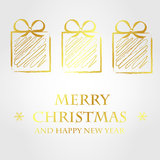Golden merry christmas template 2. Christmas card Stock Photo