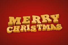 Golden Merry Christmas text on a red background. (3d illustration Stock Photos