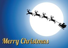 Golden merry Christmas text,silhouette reindeer with Santa Claus Royalty Free Stock Photography