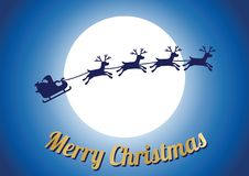 Golden merry Christmas text,silhouette reindeer with Santa Claus Stock Image