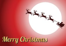 Golden merry Christmas text,silhouette reindeer with Santa Claus Royalty Free Stock Photos