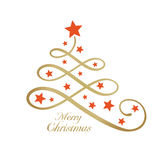 Golden Merry wording with Christmas tree and stars, line art. Line art golden Christmas tree made of loops and decorated with red stars and the wording Merry stock illustration