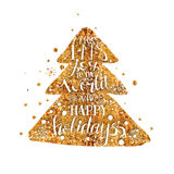 Golden Merry Xmas christmas tree with quote Royalty Free Stock Photos