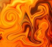 Golden mesh liquid surface digital illustration. Liquid metal texture with orange gold paint drips. Royalty Free Stock Photo
