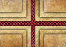 Golden metal background with red grid texture bronze plates Stock Images