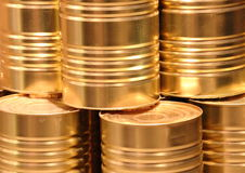 Golden metal cans with line cut closeup Stock Photography