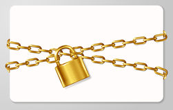 The golden metal chain and padlock, handcuffed card Stock Photography