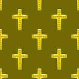 Golden Metal Cross Seamless Pattern Royalty Free Stock Images