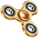 Golden metal fidget spinner Stock Photos