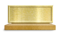 Golden metal frame on wooden stand Stock Photos