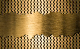 Golden metal grate background Stock Photo