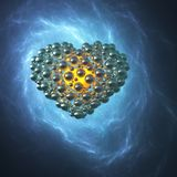 Golden metal heart made of spheres with reflections  on blue galaxy space background. Happy valentines day 3d illustration.  Stock Image
