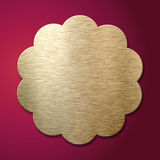 Golden metal label over luxury red background Stock Photography