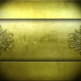 Golden metal plate background Stock Photos