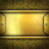 Golden metal plate background Stock Photo