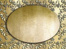 Golden metal plate background Stock Photography
