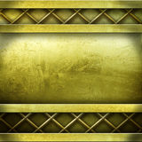 Golden metal plate background Stock Images