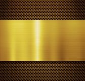 Gold metal plate over comb grate background 3d illustration. Golden metal plate over comb grate background Royalty Free Stock Photo