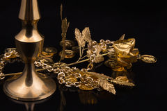 Golden metal products Royalty Free Stock Image