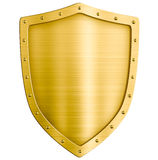 Golden metal shield isolated Royalty Free Stock Photography