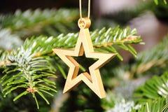 Golden metal star on christmas pine tree Stock Photos