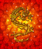 Golden Metallic Chinese Dragon Red Background. Golden Metallic Chinese Oriental Dragon on Red Blurred Background Illustration Royalty Free Stock Images