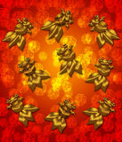 Golden Metallic Chinese Goldfish Red Background Royalty Free Stock Photo