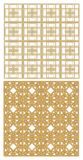 Golden metallic grid with art deco patterns. Two models, repeatable, seamless with 3D effect. Stock Images