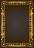 Golden metallic rectangular retro frame. Golden metallic rectangular retro frame, art deco style of 1920s. A4 page proportions Royalty Free Stock Image