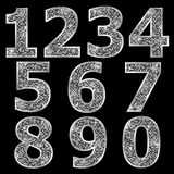 Golden metallic shiny numbers Royalty Free Stock Images