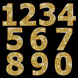 Golden metallic shiny numbers Royalty Free Stock Photos
