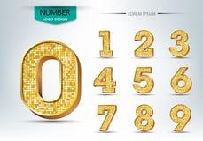Golden metallic shiny numbers vector Stock Photography