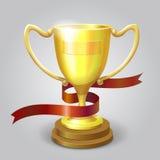 Golden metallic trophy cup winner award vector. Golden metallic trophy cup first place winner award vector illustration Stock Image