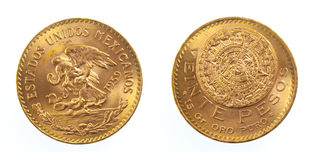 Golden Mexican coin Royalty Free Stock Photos