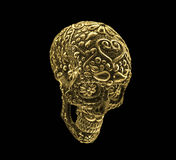 Golden mexican skull on black background Royalty Free Stock Images