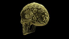 Golden mexican skull loop animation wih luma matte stock video