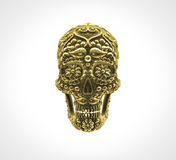 Golden mexican sugar skull Stock Photo