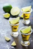 Golden mexican tequila shot with green lime and salt Royalty Free Stock Photo