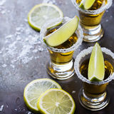 Golden mexican tequila shot with green lime and salt Royalty Free Stock Photography