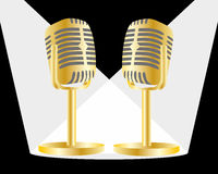 Golden mic. Sound and popular Royalty Free Stock Image