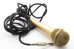 Golden Microphone Stock Images