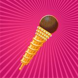 Golden microphone decorated with crystals. Music sign. Stock Photography